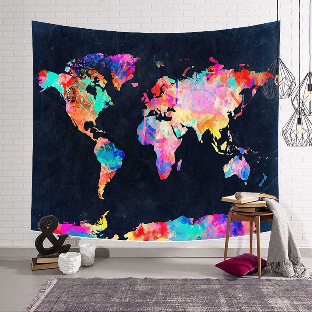 Creativity 3D World Map Wall Hanging Tapestry Home Living Decor Space Pensile Decoration Polyester Beach Towel Yoga Picnic Mat