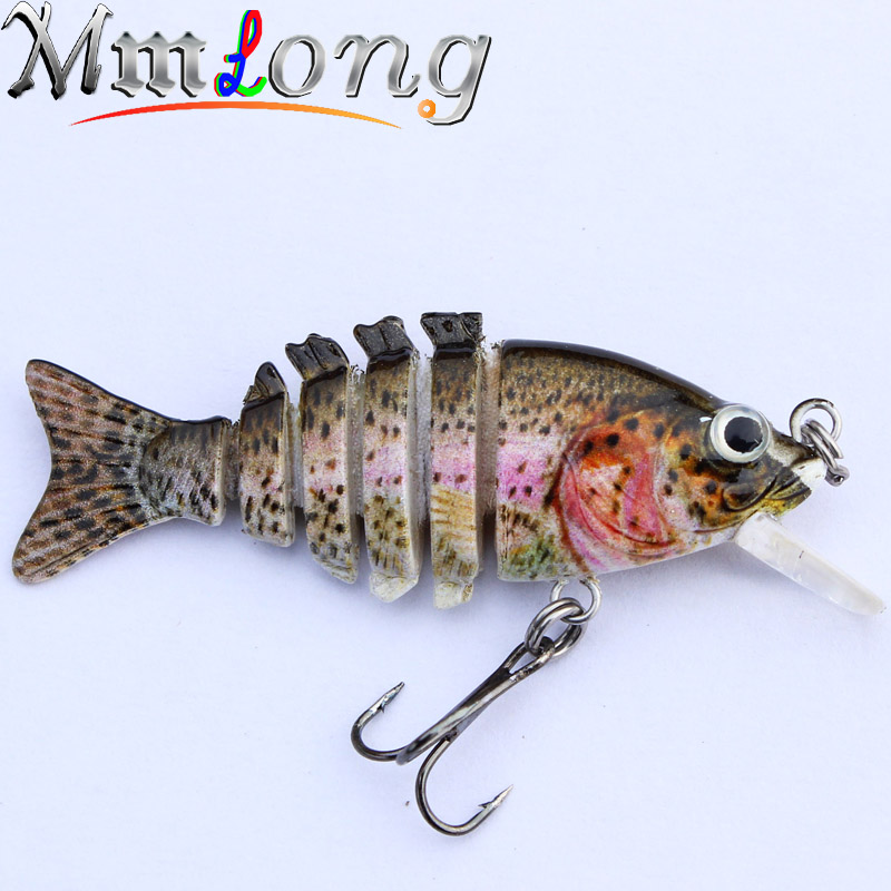 "Mmlong 2 ""/2.1g Artificial Fishing Lure 6 Jointed Section Lifelike Swimbait Crankbait Slow Sink Fish Bait Wobbler Tackle SAL13-M"