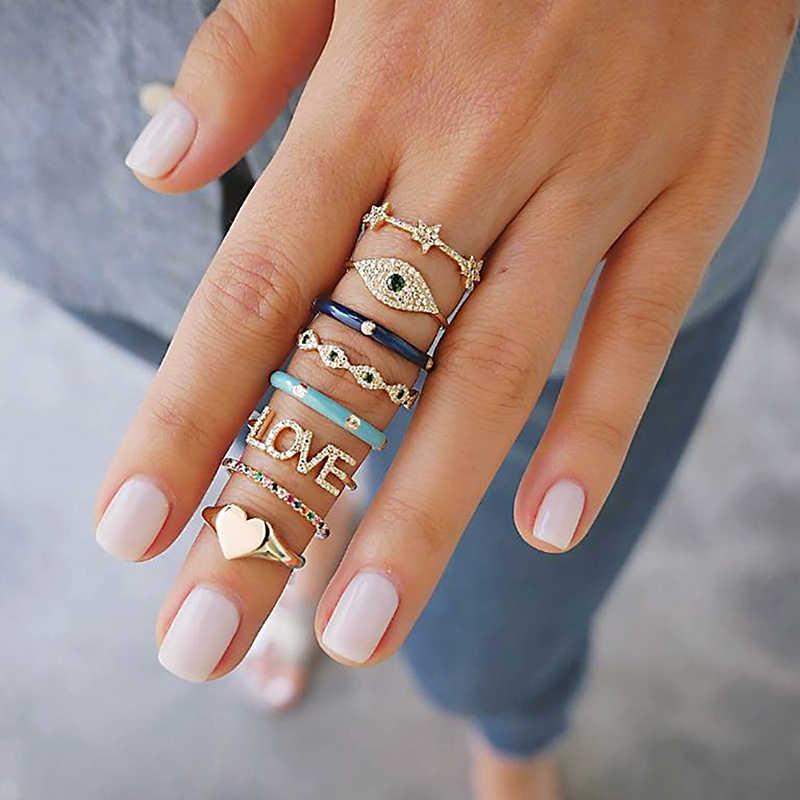 8 pz/set Delle Donne di Boho Anello di Barretta Set Nuovi Anelli di Oro Amore Micro tempestato di diamanti Geometria Midi di Barretta Dei Monili Bague Femme regalo di cristallo