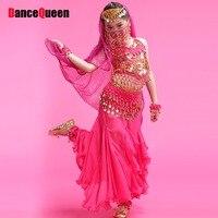 Barato Traje de la Danza Del Vientre 6 Unids Femininas Roupas Gimnasio Rojo/Rosa/Amarillo de La Sirena Traje de Falda de Ropa de La India Moda DQ2011