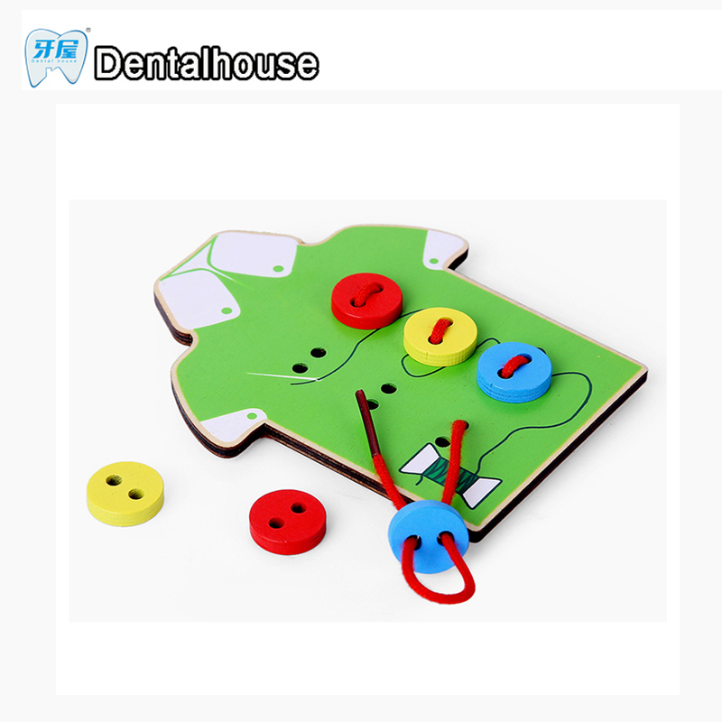 Dental house The Button Wooden Toys Montessori Education Wooden Wear Threading Board Bea ...