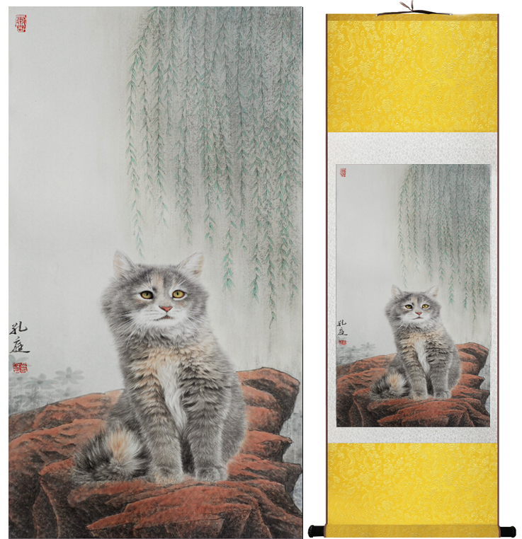 Cat Painting   Home Office Decoration Chinese Scroll Painting Cute Cat Picture