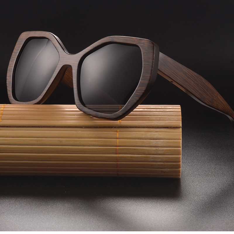 SKYDOVE Nero di Bambù Occhiali Da Sole Donne Occhiali Donna Occhiali Vitage Esagonale Polarizzati delle Donne Occhiali UV400 Lentes De Sol Mujer