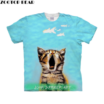 Funny Cat t shirt 3d t-shirt Men Women tshirt Summer Tee Prints Top Short Sleeve Camiseta O-neck Tee Boy Drop Ship ZOOTOP BEAR