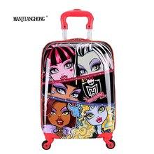 "16"" inch Children Luggage Suitcase,Child Kid Boy Girl Princess Cat ABS Cartoon trolley case box Traveller Pull Rod Trunk"