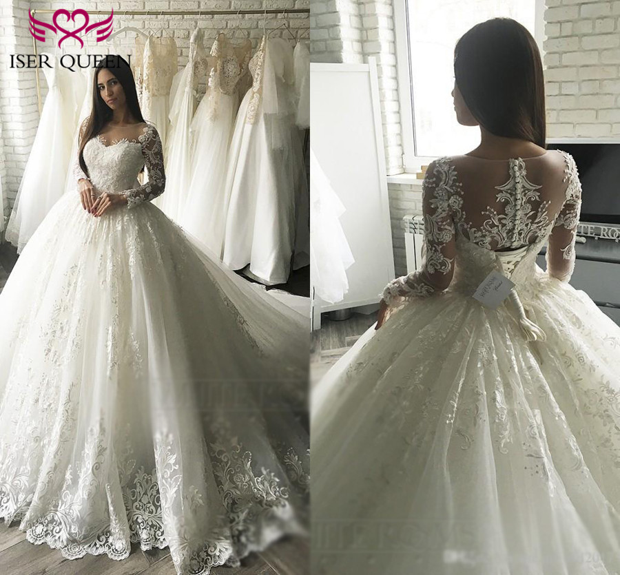 Vintage Ball Gown Embroidery Arab Wedding Dress 2019 Long Sleeve Plus Size Appliques Tulle  Wedding Gowns Bride Dress  W0349
