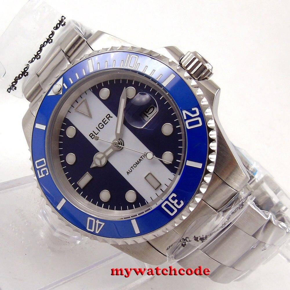 40mm Bliger blue white dial sapphire glass ceramic bezel automatic mens watch14140mm Bliger blue white dial sapphire glass ceramic bezel automatic mens watch141