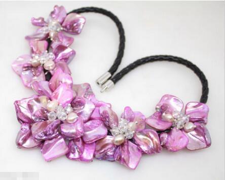"""Venda quente novo estilo >> >> > bonito fúcsia mãe de pérola shell colar 18 """" moda jóias"""