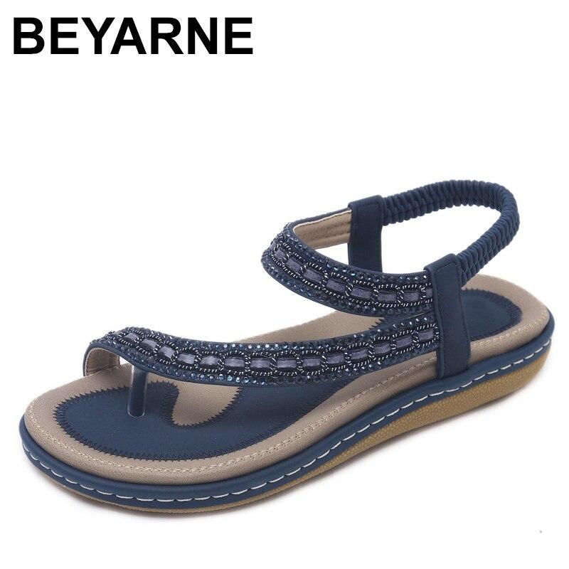 BEYARNES Ummer Women Flat Sandals Shoes Woman Bohemia Flip Flop Crystal 2018 Casual Beach Sandals 35-42 Female Gladiator Sandals