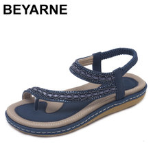 BEYARNES ummer Women Flat Sandals Shoes Woman Bohemia Flip Flop Crystal 2018 Casual Beach Sandals 35 42 Female Gladiator Sandals