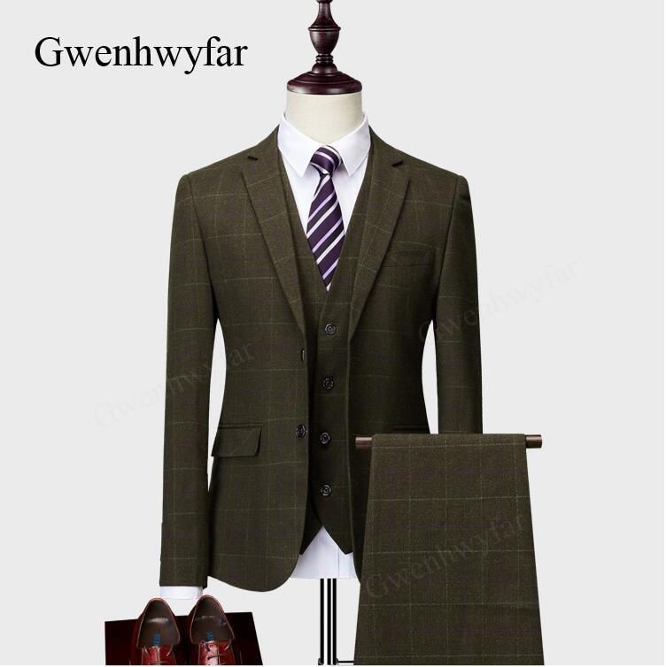 g n 2018 plaid suits 3 pieces tweed suits mens terno khaki. Black Bedroom Furniture Sets. Home Design Ideas