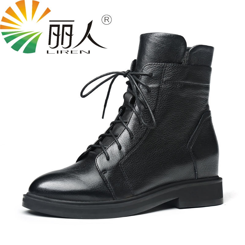 LIREN 2017 Women Boots Fashion Genuine Cow Leather Shoes Spring Autumn Platform Leather Ankle Boots Women Black Flat Casual Boot high quality full cow skin genuine leather flat casual ankle boots women 2016 black white lace up fashion autumn walking shoes