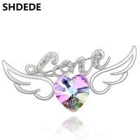 Fashion Women Wedding Bridal Rhinestone Crystal Brooches Costume Jewelry Crystal From Swarovski Elements Heart Brooch 3324