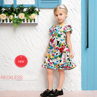 New Year Children Spring Clothing Multicolor Flower Printing Cotton Novelty Dresses For 4 8Y Girls Kids