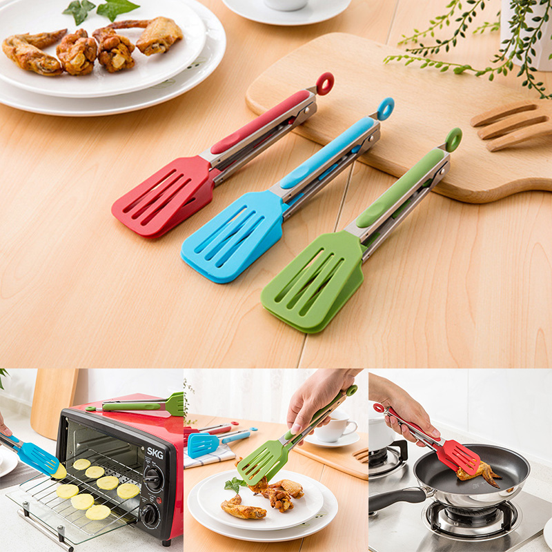 Sale Steak 1PC New Non-Stick Bread Kitchen Tools Stainless Steel Random Color Pizza Barbecue Tongs Bakeware Food Grade
