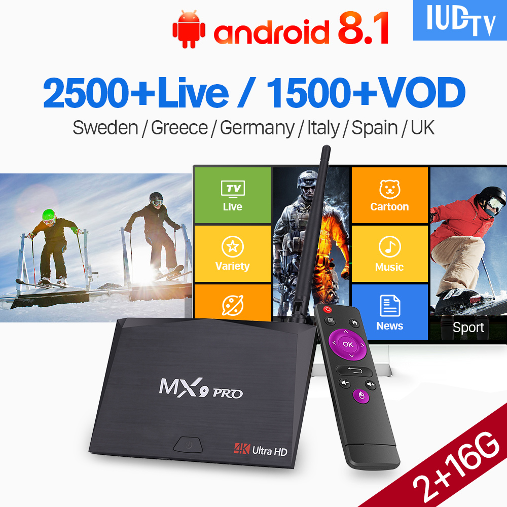 Europe IPTV 1 Year TV Box Android 8.1 RK3328 MX9 Pro 2G 16G with IPTV IUDTV Subscription Arabic Sweden Spain Italia Germany UK  Europe IPTV 1 Year TV Box Android 8.1 RK3328 MX9 Pro 2G 16G with IPTV IUDTV Subscription Arabic Sweden Spain Italia Germany UK