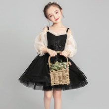 Black Beads Communion Dresses Embroidery Flower Girl Mesh Formal Dress Summer New Children Ball Gown Mini Costume Pageant(China)