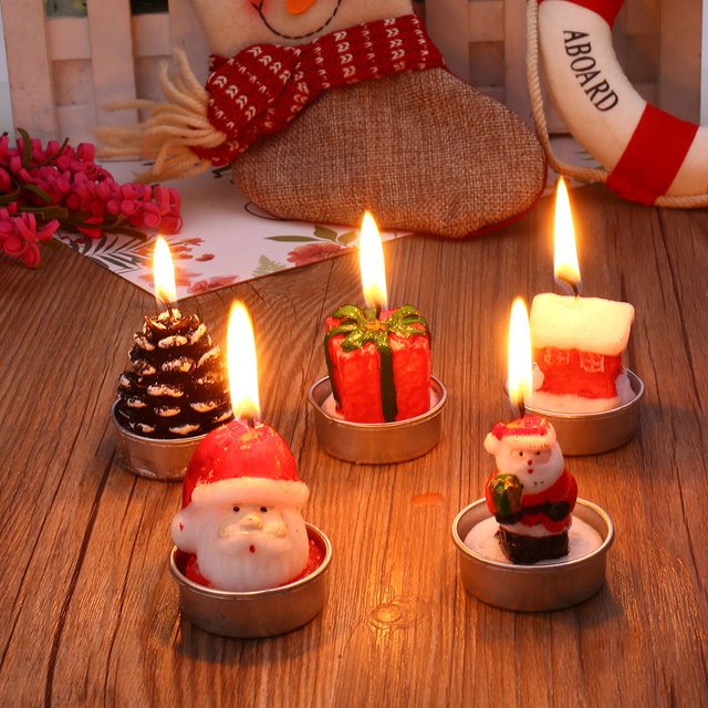 4pcsset christmas candles santa claus pine cones gift home decorations cute - Christmas Candle Decorations