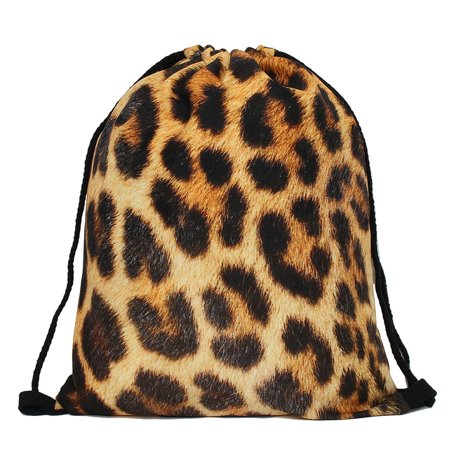 Women Drawstring Backpack 3D Printed Leopard Pattern Oxford String Shoulder  Bags Student School bag Mochila BB153