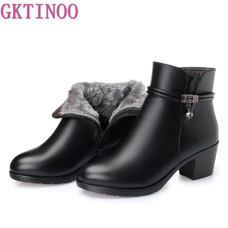 GKTINOO 2019 NEW Fashion Soft Leather Women Ankle Boots High Heels Zipper Shoes Warm Fur Winter