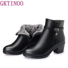 Gktinoo bota tornozelo feminina de salto, calçado feminino de couro macio com zíper, quente para inverno 2020 tamanho 35 43