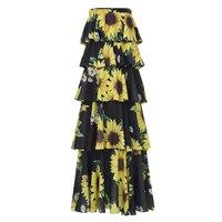 Kinikiss Women Strapless Flower Print Dress Backless Layered Sunflower Dress Lady Summer Holiday Chiffon Floral Long