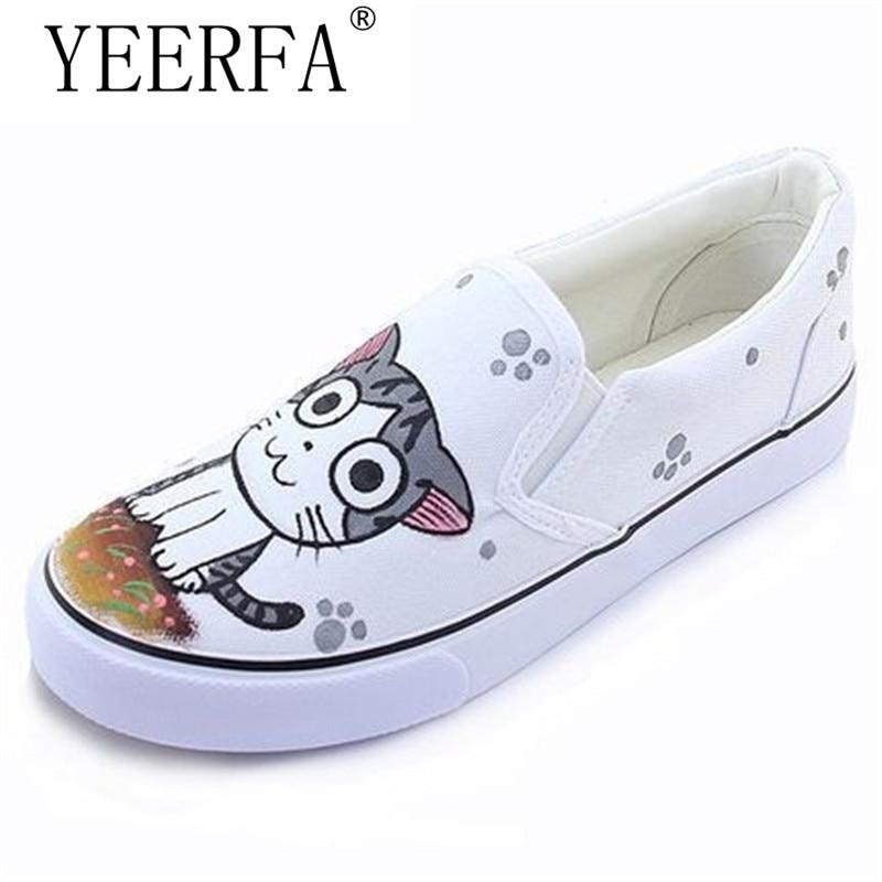 Symbol Der Marke Yeerfa Personalisierte Hand Bemalt Schuhe Kaninchen Mädchen Verpackung Fuß Pedal Plattform Leinwand Schuhe Frauen Schuhe Casual Licht Schuhe Hohe QualitäT Und Preiswert