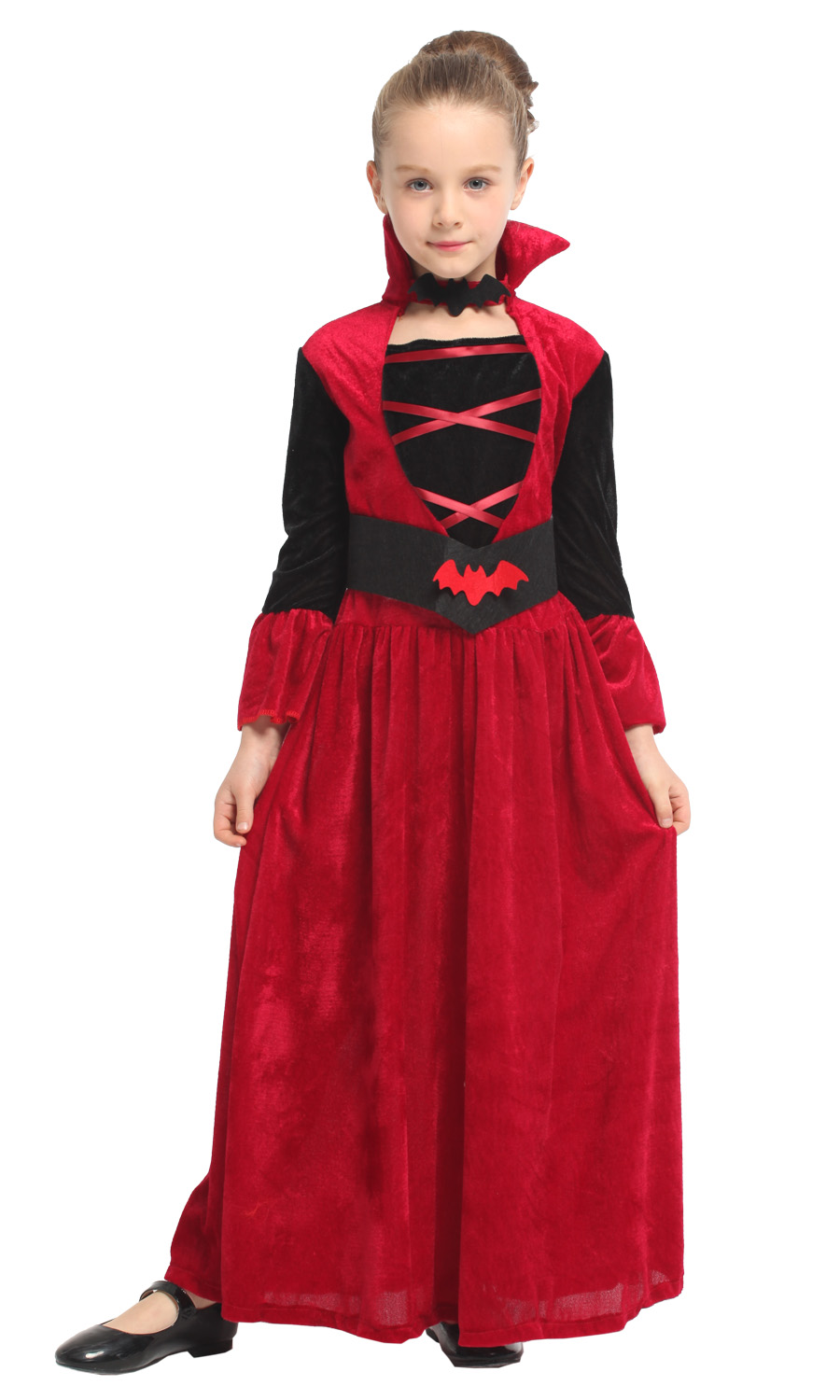 deluxe Girls Vampire Princess Costumes Cosplay witch Red Dresses role play clothing set Costume For kids Halloween Party