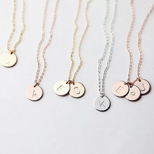 DIY Tiny 26 Letters Initial Choker Necklaces for Women Gold Silver Color Metal Coin Pendant Name necklace Dainty Jewelry Gifts(China)