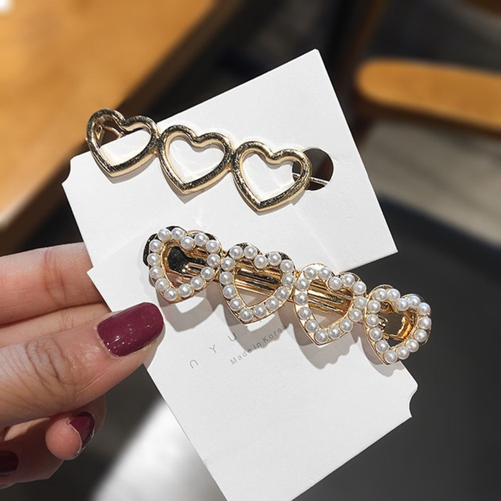New Cute Love Heart Pearl Metal Hair Clip Gold Silver Hollow Hairpin Barrettes Hairgrip Fashion Hair Accessories For Women Girls