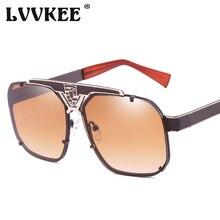 a808c2de3 2019 LVVKEE عالية الجودة القيادة نظارات شمسية أزياء العلامة التجارية تصميم  المعادن إطار الرجال النظارات الشمسية