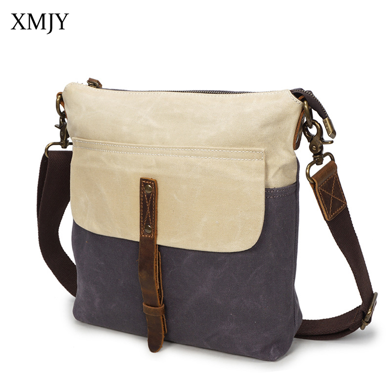 XMJY Men Oil Wax Canvas Shoulder Bag Vintage Canvas with leather Waterproof Messenger Bags Travel Casual Male Crossbody Bag canvas leather crossbody bag men briefcase military army vintage messenger bags shoulder bag casual travel bags