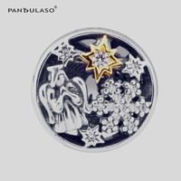 Angel Snowflake with Real Golden Shine Star Crystal Beads for Charms Bracelets Silver 925 Charms Original Beads Jewelry Making