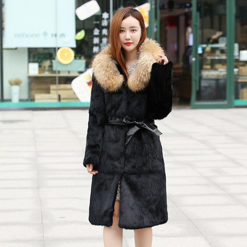 Taille Plus Long 2018 Collar La Pleine Col Hiver fox Naturel Pelt Fur Réel Mince Arrivée Nouvelle Outwear De Fourrure Russie Avec Lapin Raccoon Manteau Vestes Grand Collar W1xqfHrw81