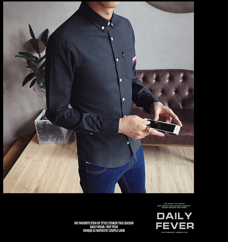 2017 New autumn men's casual tops brand shirt striped Strip decorate cotton men fashion solid color long sleeved Shirts M-XXXL 78