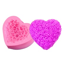 3D Cake Mold Love Heart Rose Baking Moulds Food Grade Silicone Handmade Soap Chocolate Ice Mold Pink Kitchen Bareware