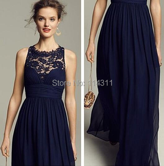 8989774508b2f Dark Navy Lace Bridesmaid Dresses 2016 Sheer High Neck Chiffon Long Wedding  Party Gowns Vestido De Festa Lace up Back Cheap New-in Bridesmaid Dresses  from ...