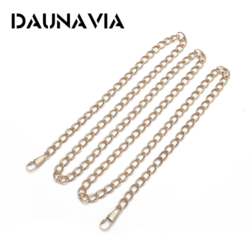 DAUNAVUA Brand 120cm Metal Chain For Shoulder Bags Handbag Buckle Handle DIY Belt For Bag Strap Accessories Hardware 10pcs 120cm metal chain for shoulder bags handbag buckle handle diy strap accessories for bag hardware double woven iron chain