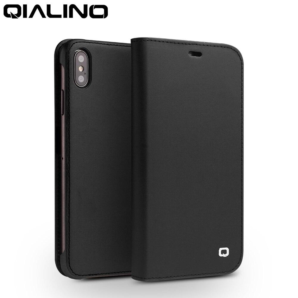 QIALINO Модный чехол книжка из натуральной кожи для Apple iphone XS/XR, Стильный чехол ручной работы для телефона с отделениями для карт для iphone XS MAX