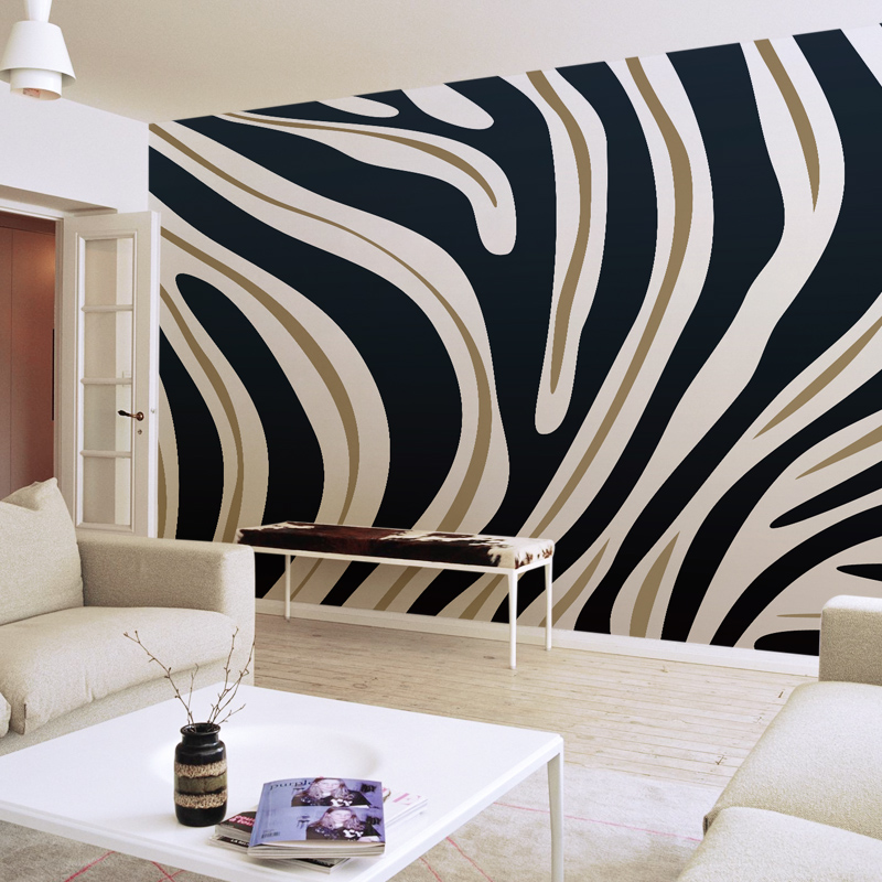 Mural 3d stereo personalized 3d wallpaper tv background wall 3d wallpaper non woven seamless mural zebra print in wallpapers from home improvement on