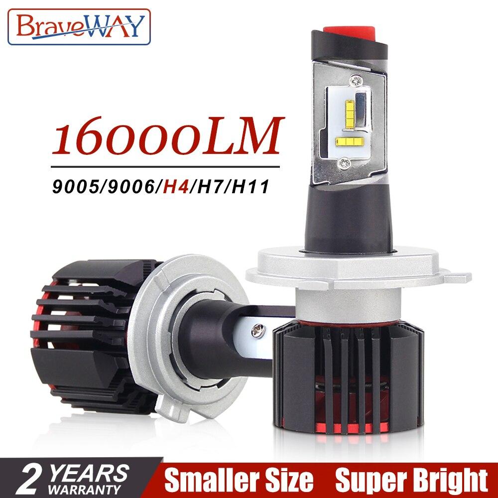 BraveWay H4 LED H7 H11 HB3 HB4 9005 9006 Auto Led Phare De Voiture Ampoule pour Voitures CSP Puce H7 LED Lampe pour Voiture Ampoule H4 16000LM