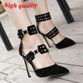 Zapatos de las mujeres sandalias negras para las mujeres se visten zapatos de punta estrecha zapatos de tacones altos sandalias de las mujeres 2016 bombas desnudas sandalias de la boda Y823