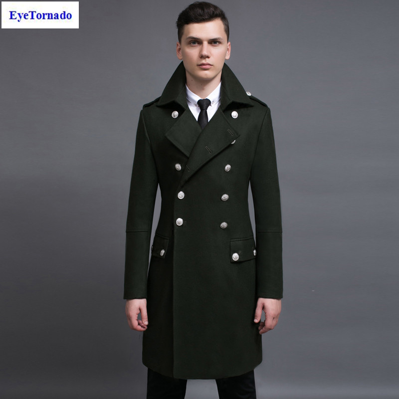 Men Coat autumn winter fashion double breasted military green slim ...