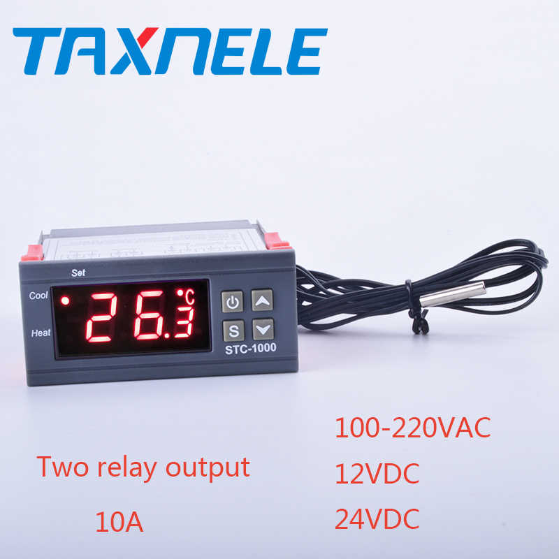 Two Relay Output LED Digital Temperature Controller Thermostat Incubator STC-1000 110V-220VAC,12/24DC 10A with Heater and Cooler