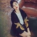 УИТНИ ВАН Мода Уличная Краны Золото Вышивает Кимоно Пальто с Поясом Женщин Вскользь Зимнее Пальто Куртки Плюс Размер