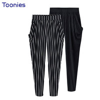 Summer Women Harem Pants High Waist Stripe European Streetwear Trousers Pockets Casual Pants Plus Size 4XL