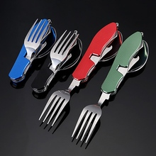 Multi Functional Tableware Portable Detachable Folding Stainless Steel Fork Cutlery Bottle Opener Camping Picnic EDC Flatware цена