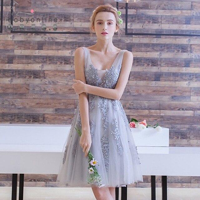b406159577908 Vestido de Festa Curto Mini Dantel Kısa Mezuniyet Elbiseleri Tül Aplikler V  Boyun Balo Dantel-