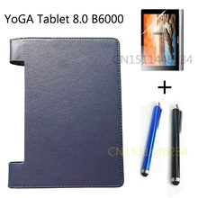 New mobile Tablet Cover For Lenovo YOGA 8.0 B6000 PU Leather Stand Case B6000-F Dark blue, black+Screen Protector+Stylus(China)
