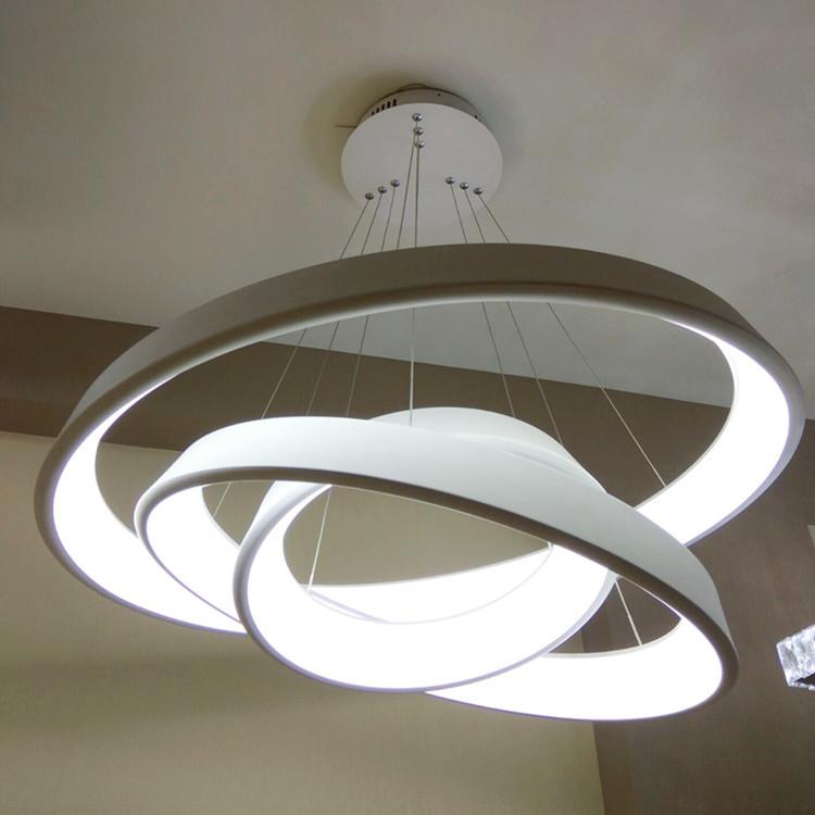 Neue Stil Aluminium Acryl Moderne LED Anhnger Licht Runde Kreis Hngen Lampe Hohe Helle Wohnzimmer